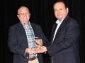 Receiving the Ambassador Award from HCISD School Board President, Mr. Robert Limon